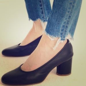 Madewell Black Leather Pumps Size 6.5